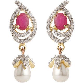 Rajwada Arts Brass Paisley American Diamond Drop Earrings