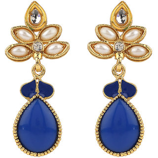 Rajwada Arts Stylish Blue and white stone floral Dangle Earrings