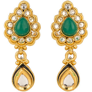 Rajwada Arts Brass Green  Dangle Earrings for women