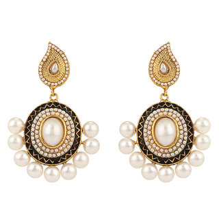 Rajwada Arts Brass Black Enamel Dangle Earrings with white stones for women