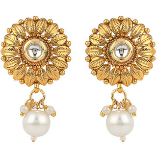 Rajwada Arts Brass Golden Flower Drop Earrings with Pearl