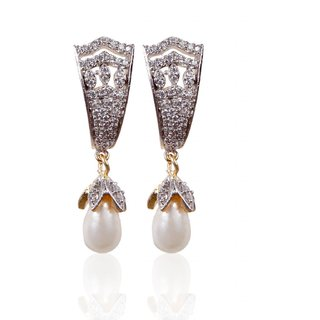 Rajwada Arts American Diamond Earring with white pearl