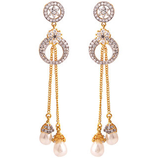 Rajwada Arts Gold Colored Cubic Zirconia Br Long Hanging Earring For Women