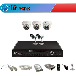 8 Channel H.264 Network DVR with 5 Dome&Bullet 800 TVL IR Cameras