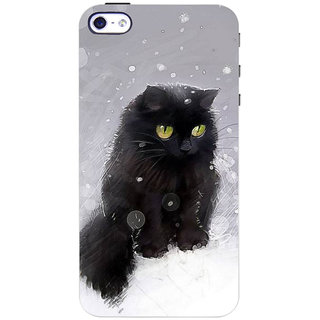 Stubborne Smush Cat Multicolor 3D Printed Apple Iphone 4 Back Cover / Case