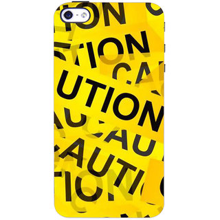 Stubborne Yellow Caution 3D Printed Apple Iphone 4S Back Cover / Case