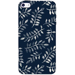Stubborne Blue Leaves Pattern 3D Printed Apple Iphone 4S Back Cover / Case