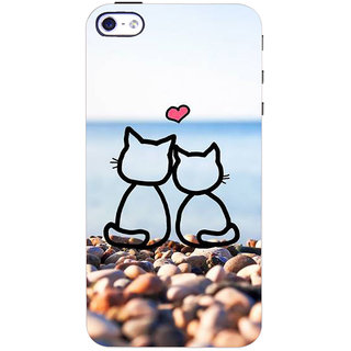 Stubborne Multicolo Love Cats 3D Printed Apple Iphone 4S Back Cover / Case
