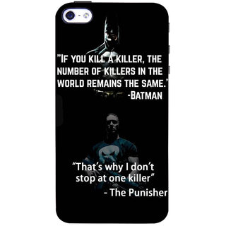 Stubborne Multicolor Punisher & Batman 3D Printed Apple Iphone 4S Back Cover / Case