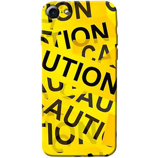 Stubborne Yellow Caution 3D Printed Apple Iphone 7 Back Cover / Case
