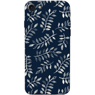 Stubborne Blue Leaves Pattern 3D Printed Apple Iphone 7 Back Cover / Case