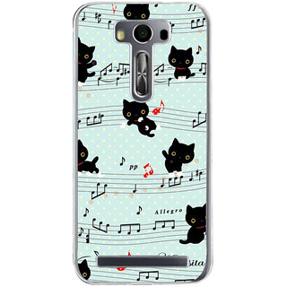 Ifasho Animated Pattern Design Black And White Music Symbols And Cats Back Case Cover For Asus Zenfone Selfie