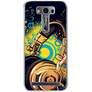 Ifasho Modern Art Design Pattern Animated Music Instrument Head Phone Back Case Cover For Asus Zenfone Selfie