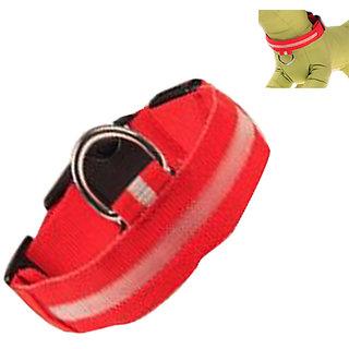 Futaba Nylon Pet Glow in Dark LED Collar Night Safety - Red - Medium