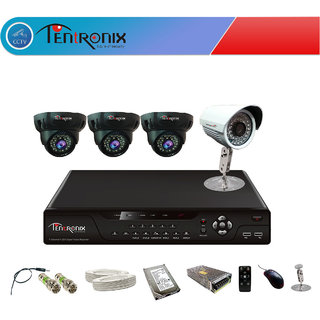 4 Channel H.264 Network DVR with 4  900 TVL DOME & Bullet  IR Cameras