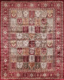 Rugsville Kashmir Silk Collection Red   Black Hand-Knotted Silk Rug  21428 8x10