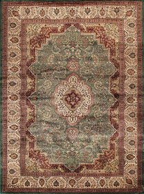 Rugsville Kashmir Silk Collection Ivory  Green Hand-Knotted Silk Rug  21429 8x10