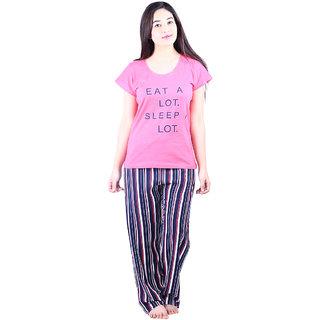 c763e2ec43 Buy Vixenwrap Cute Pink Blue Printed Top Pyjama Set Online - Get 10% Off