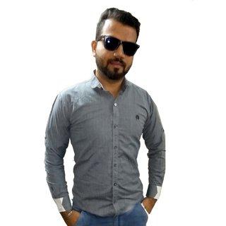 Grey Plain Shirt For Men