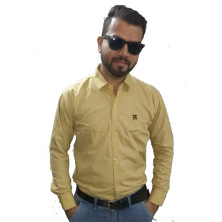 Mustard Twill Cotton Plain Shirt For Men