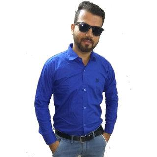 Blue Twill Cotton Plain Shirt For Men