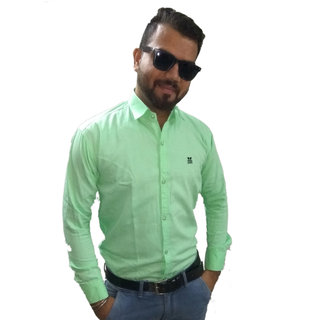 Green Matty Plus Plain Shirt For Men
