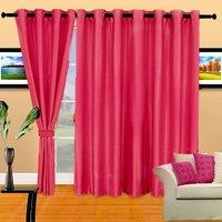 Set Of 3 Crush Plain Eyelet Door Curtain - Dark Pink