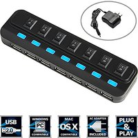 Sabrent 7 Port High Speed USB 2.0 Hub With Power Adapte