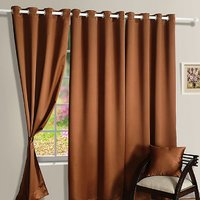 Hard Rock Set Of 3 Crush Plain Eyelet Door Curtain-brown
