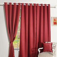 Set Of 3 Crush Plain Eyelet Door Curtain - Maroon