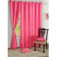Set Of 3 Crush Plain Eyelet Door Curtain - Baby Pink