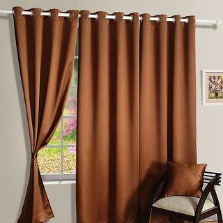 Hard Rock Set Of 3 Crush Plain Eyelet Door Curtain-brown