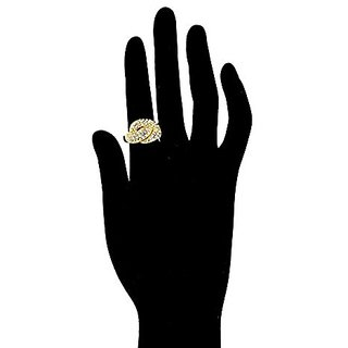 Anuradha Art White Colour Golden Finish Stylish Finger Ring For Women/Girls