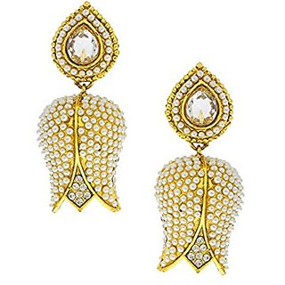 Anuradha Art White Colored Floral Design Earrings For Women