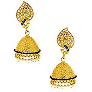 Anuradha Art Blue Colour Beautiful Jhumki Styled Classy Traditional Earrings For Women/Girls