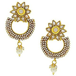 Anuradha Art White Colored Chandbali Earrings For Women