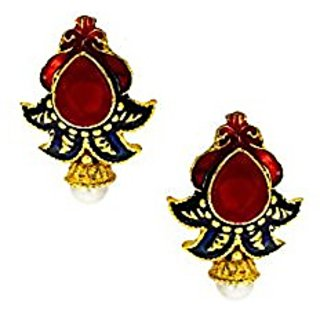Anuradha Art Red & Blue Colou Designer Shimmering Stone Traditional Earrings For Women/Girls
