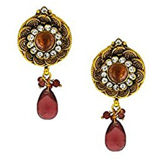 Anuradha Art Golden Colour Classy Peach Colour Stone Traditional Earrings For Women/Girls