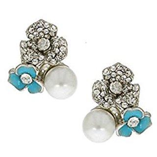 Anuradha Art Silver Finish Classy Designer Sparkling Stone Korean Top Earrings For Women