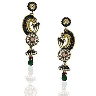 Anuradha Art Designed to Perfection Black-Pink Colour Earrings For Women