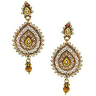 Anuradha Art White Colour Sparkling Stone Styled With Golden Finish Traditional Earrings For Women/Girls