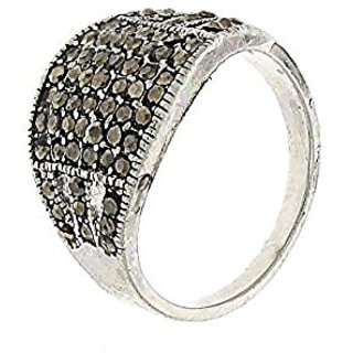 Anuradha Art Silver Colour Styled With Black Colour Stone Finger Ring For Women,Girls
