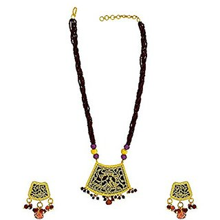 Anuradha Art Pretty Purple Colored Thewa Necklace Sets For Women/Girls