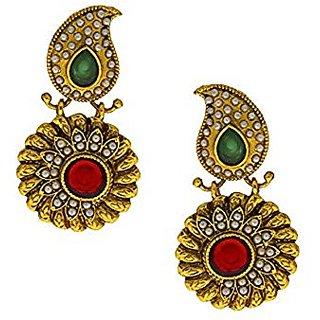 Anuradha Art Maroon-Green Colour Classy Designer Traditional Earrings For Women/Girls