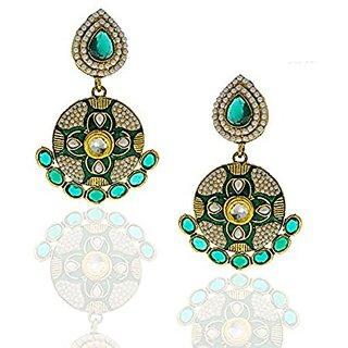 Anuradha Art Trendy & Classy Green Colour Earrings For Women
