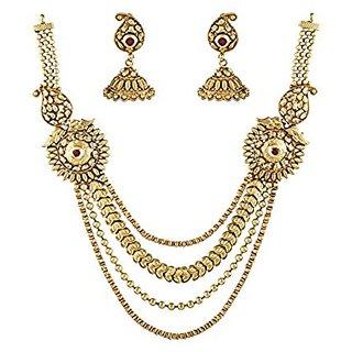 Anuradha Art Traditional Golden Necklace Set For Women