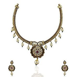 Anuradha Art Antique Gold Traditional Necklace Sets For Women