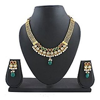 Anuradha Art Maroon-Green Colour Very Stylsih & Delicate Classy Traditional Necklace Set For Women