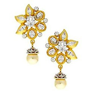 Anuradha Art White Colour Stone Stylish Floral Designer American Diamonds Earrings For Women/Girls