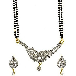 Anuradha Art Golden Finish Styled With Sparkling Stone American Diamonds Stone Mangalsutra For Women